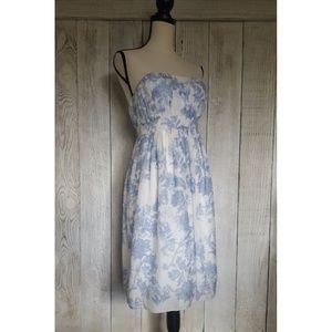 NWOT Gap Paisley Silk Strapless Dress   Size 4